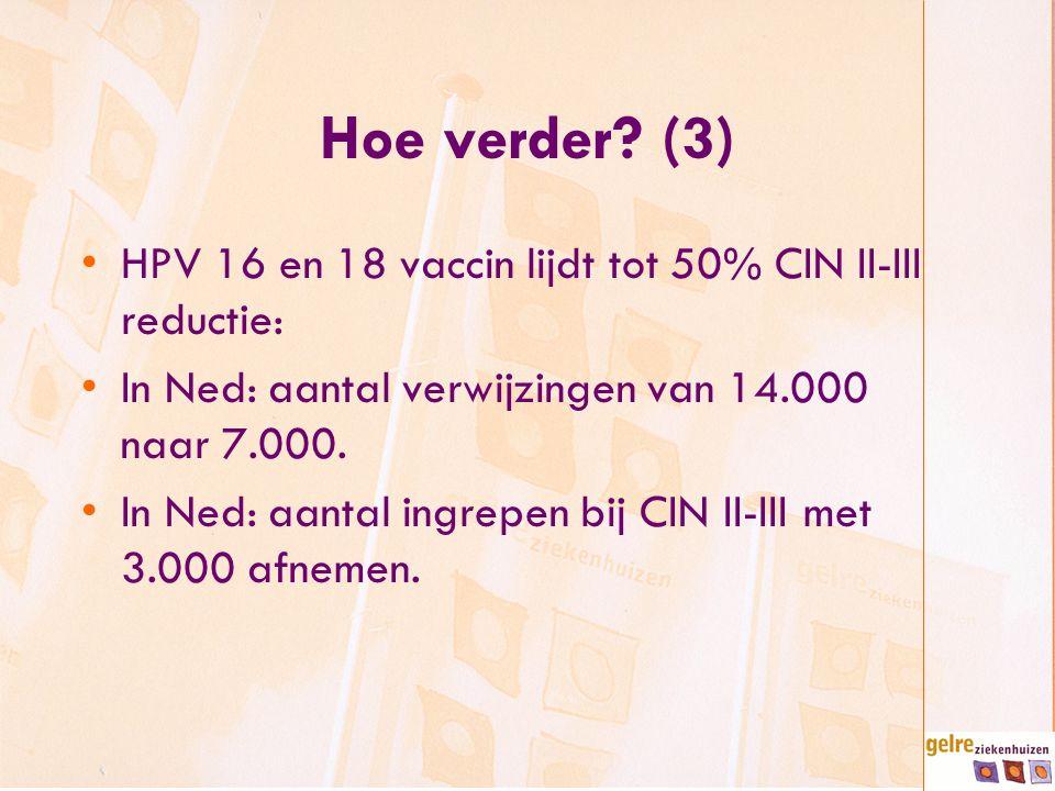 Hoe verder? (3) HPV 16 en 18 vaccin lijdt tot 50% CIN II-III reductie: In Ned: aantal verwijzingen van 14.000 naar 7.000. In Ned: aantal ingrepen bij