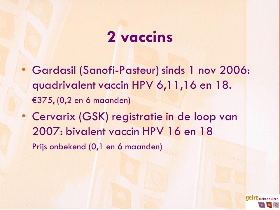 2 vaccins Gardasil (Sanofi-Pasteur) sinds 1 nov 2006: quadrivalent vaccin HPV 6,11,16 en 18. €375, (0,2 en 6 maanden) Cervarix (GSK) registratie in de