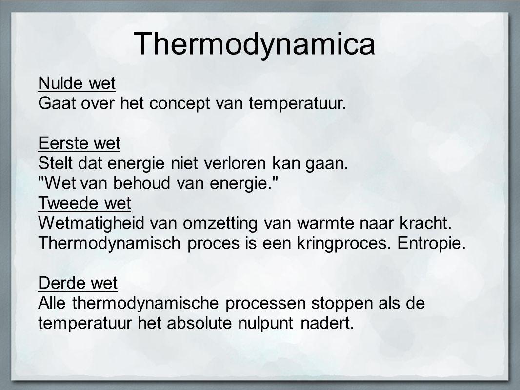 Thermodynamica Nulde wet Gaat over het concept van temperatuur. Eerste wet Stelt dat energie niet verloren kan gaan.