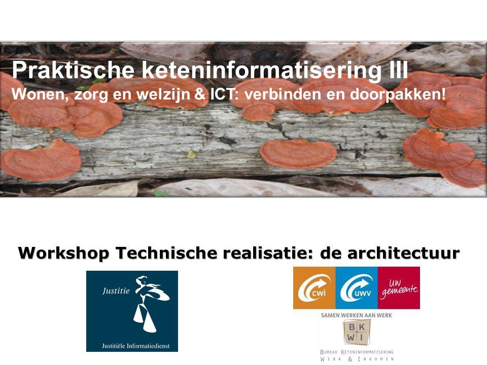 Praktische keteninformatisering III Wonen, zorg en welzijn & ICT: verbinden en doorpakken! Workshop Technische realisatie: de architectuur