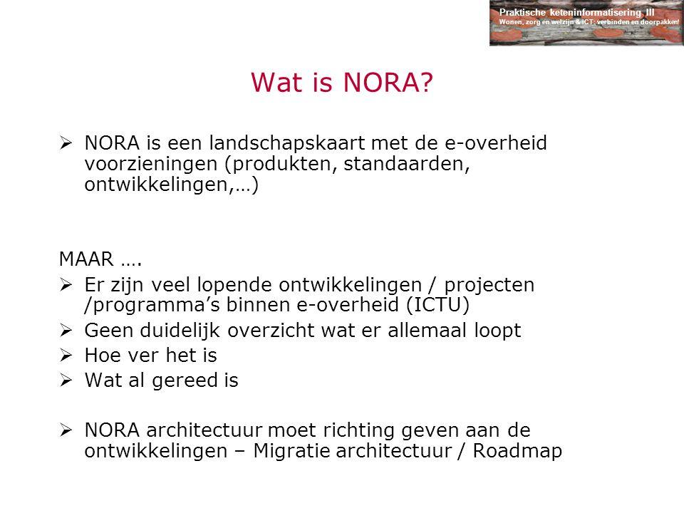 Praktische keteninformatisering III Wonen, zorg en welzijn & ICT: verbinden en doorpakken! Wat is NORA?  NORA is een landschapskaart met de e-overhei
