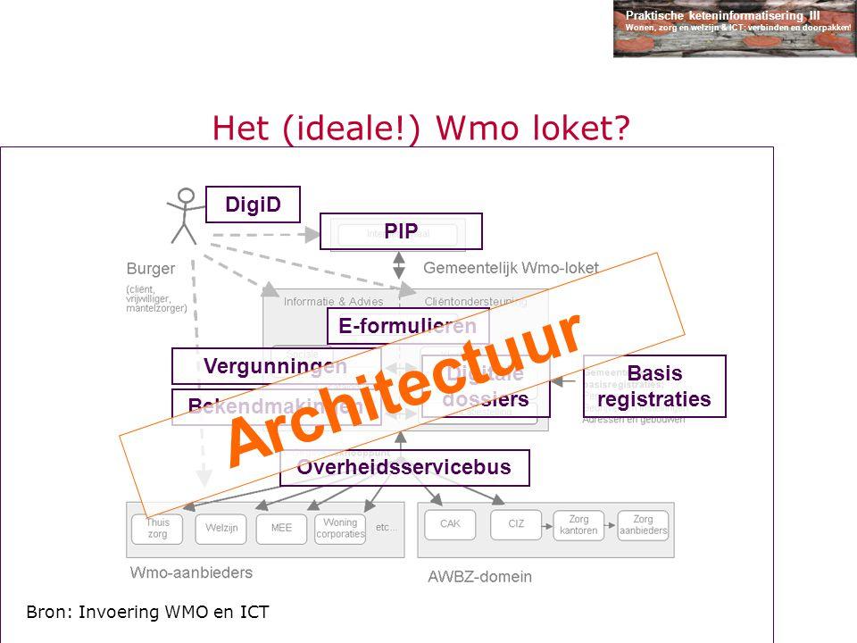 Praktische keteninformatisering III Wonen, zorg en welzijn & ICT: verbinden en doorpakken! Het (ideale!) Wmo loket? E-formulieren PIP Basis registrati