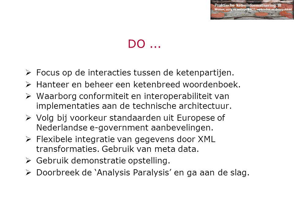 Praktische keteninformatisering III Wonen, zorg en welzijn & ICT: verbinden en doorpakken! DO...  Focus op de interacties tussen de ketenpartijen. 