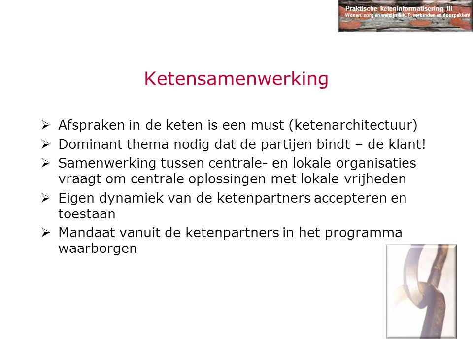 Praktische keteninformatisering III Wonen, zorg en welzijn & ICT: verbinden en doorpakken! Ketensamenwerking  Afspraken in de keten is een must (kete