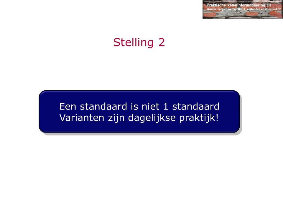 Praktische keteninformatisering III Wonen, zorg en welzijn & ICT: verbinden en doorpakken! Stelling 2 Een standaard is niet 1 standaard Varianten zijn