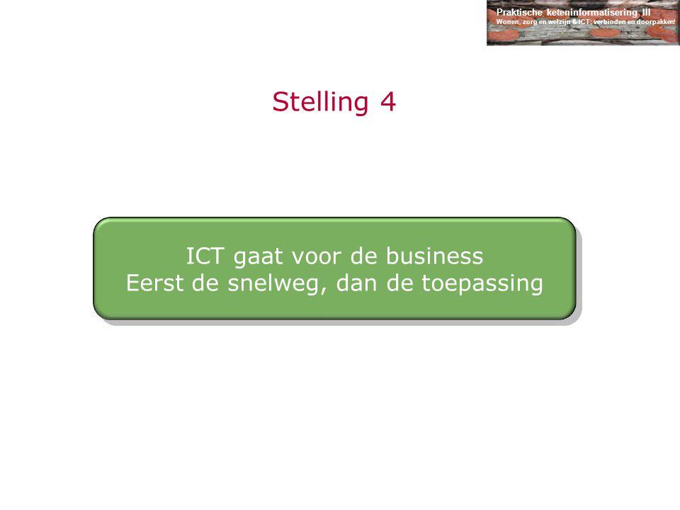 Praktische keteninformatisering III Wonen, zorg en welzijn & ICT: verbinden en doorpakken! Stelling 4 ICT gaat voor de business Eerst de snelweg, dan