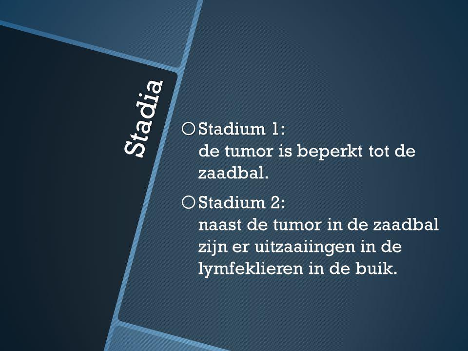 Stadia o Stadium 1: o Stadium 1: de tumor is beperkt tot de zaadbal. o o Stadium 2: naast de tumor in de zaadbal zijn er uitzaaiingen in de lymfeklier