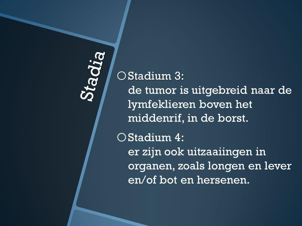 Stadia o Stadium 3: o Stadium 3: de tumor is uitgebreid naar de lymfeklieren boven het middenrif, in de borst. o o Stadium 4: er zijn ook uitzaaiingen