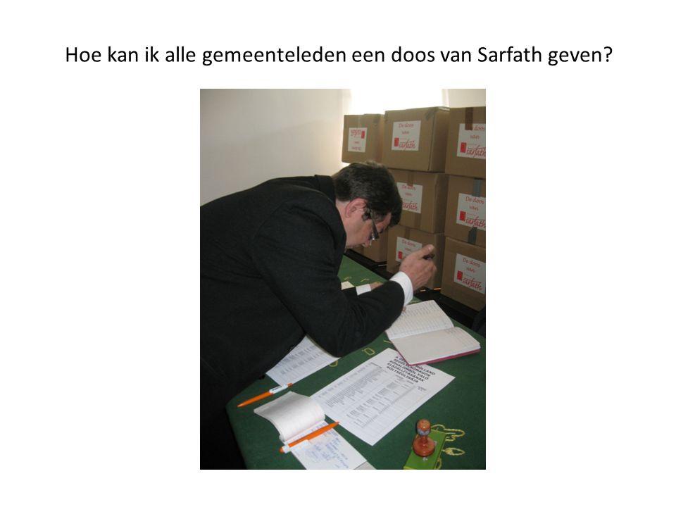 Hoe kan ik alle gemeenteleden een doos van Sarfath geven?