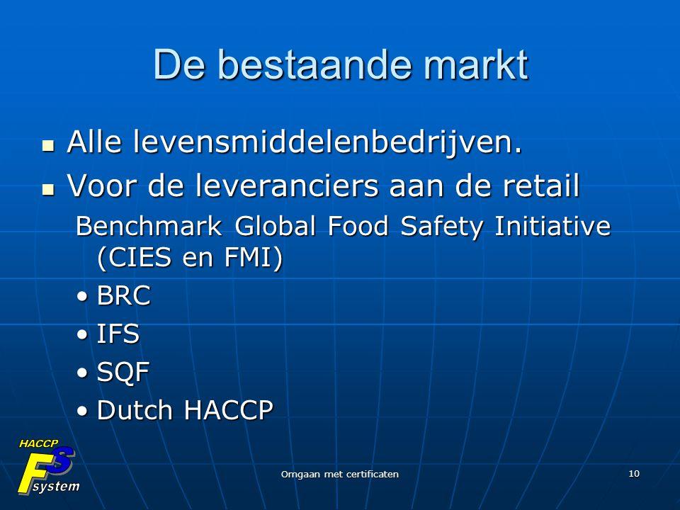 Omgaan met certificaten 10 De bestaande markt Alle levensmiddelenbedrijven. Alle levensmiddelenbedrijven. Voor de leveranciers aan de retail Voor de l