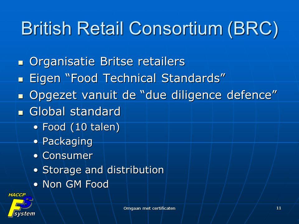 """Omgaan met certificaten 11 British Retail Consortium (BRC) Organisatie Britse retailers Organisatie Britse retailers Eigen """"Food Technical Standards"""""""