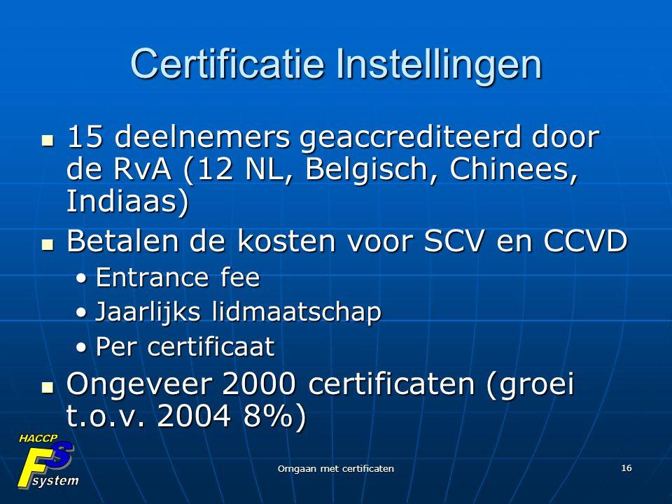 Omgaan met certificaten 16 Certificatie Instellingen 15 deelnemers geaccrediteerd door de RvA (12 NL, Belgisch, Chinees, Indiaas) 15 deelnemers geaccr