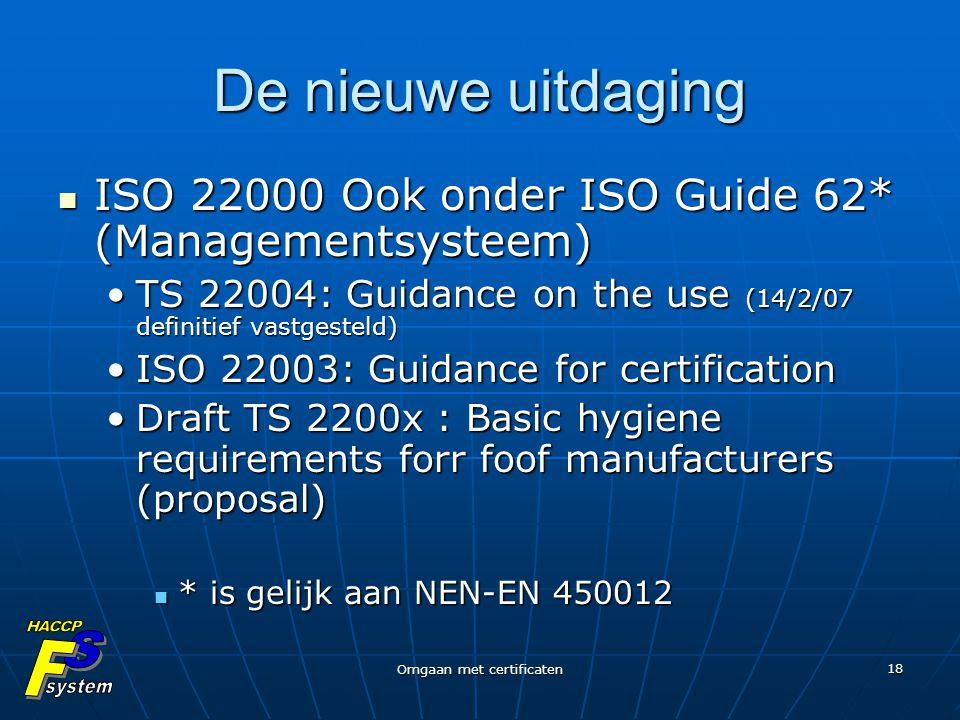 Omgaan met certificaten 18 De nieuwe uitdaging ISO 22000 Ook onder ISO Guide 62* (Managementsysteem) ISO 22000 Ook onder ISO Guide 62* (Managementsyst