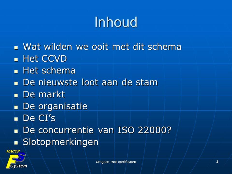 Omgaan met certificaten 2 Inhoud Wat wilden we ooit met dit schema Wat wilden we ooit met dit schema Het CCVD Het CCVD Het schema Het schema De nieuws