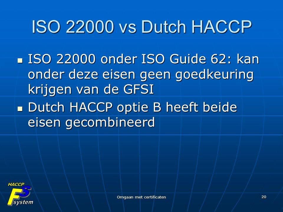 Omgaan met certificaten 20 ISO 22000 vs Dutch HACCP ISO 22000 onder ISO Guide 62: kan onder deze eisen geen goedkeuring krijgen van de GFSI ISO 22000