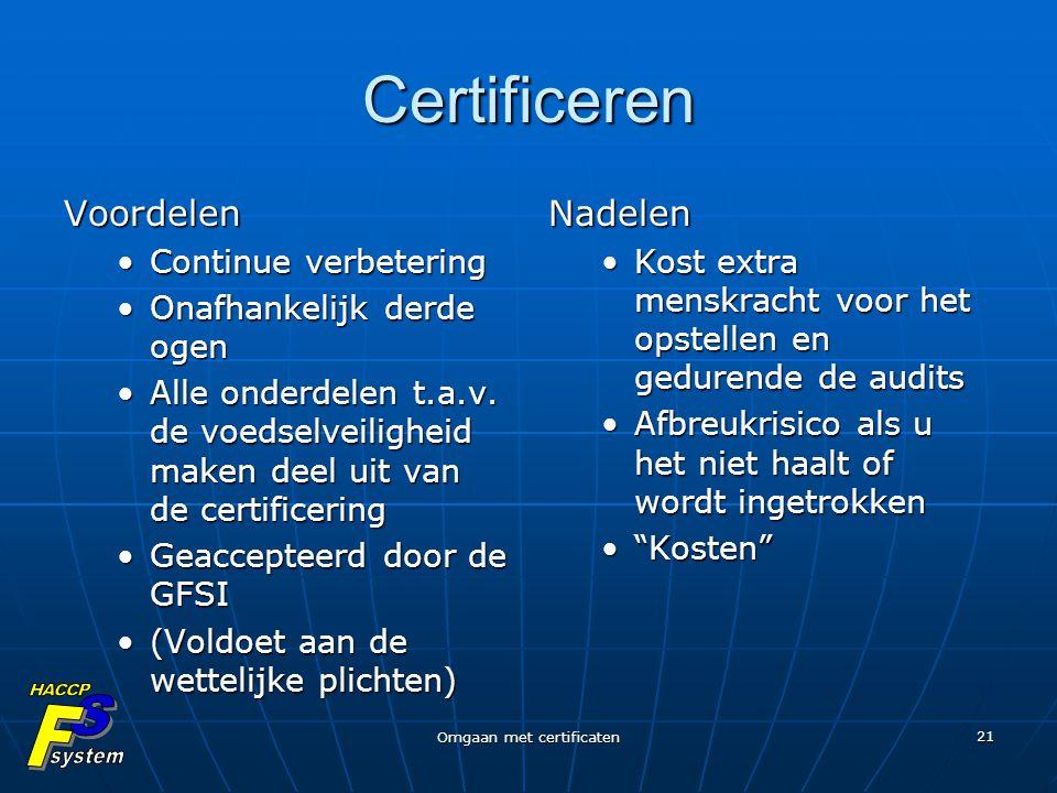 Omgaan met certificaten 21 Certificeren Voordelen Continue verbeteringContinue verbetering Onafhankelijk derde ogenOnafhankelijk derde ogen Alle onder