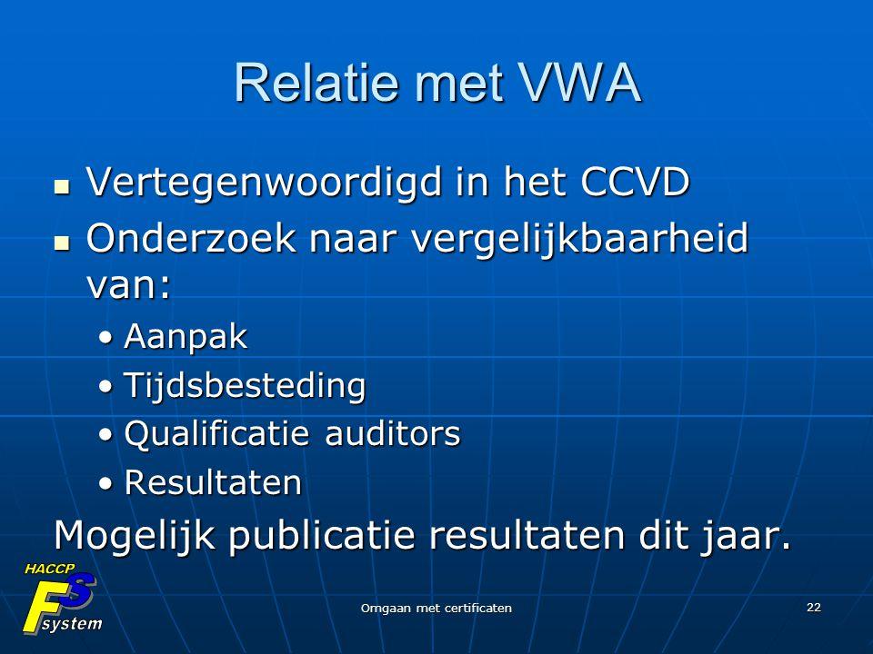 Omgaan met certificaten 22 Relatie met VWA Vertegenwoordigd in het CCVD Vertegenwoordigd in het CCVD Onderzoek naar vergelijkbaarheid van: Onderzoek n