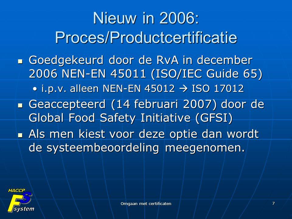 Omgaan met certificaten 7 Nieuw in 2006: Proces/Productcertificatie Goedgekeurd door de RvA in december 2006 NEN-EN 45011 (ISO/IEC Guide 65) Goedgekeu