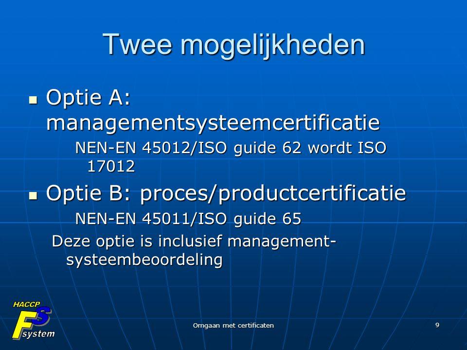 Omgaan met certificaten 9 Twee mogelijkheden Optie A: managementsysteemcertificatie Optie A: managementsysteemcertificatie NEN-EN 45012/ISO guide 62 w