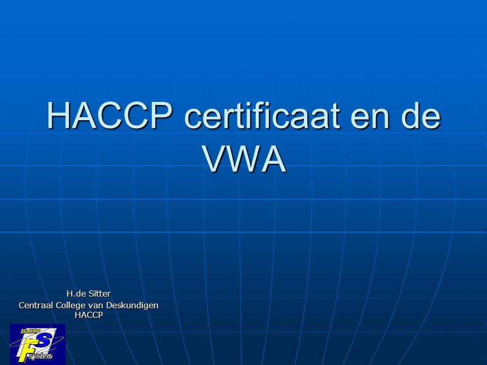 HACCP certificaat en de VWA H.de Sitter Centraal College van Deskundigen HACCP