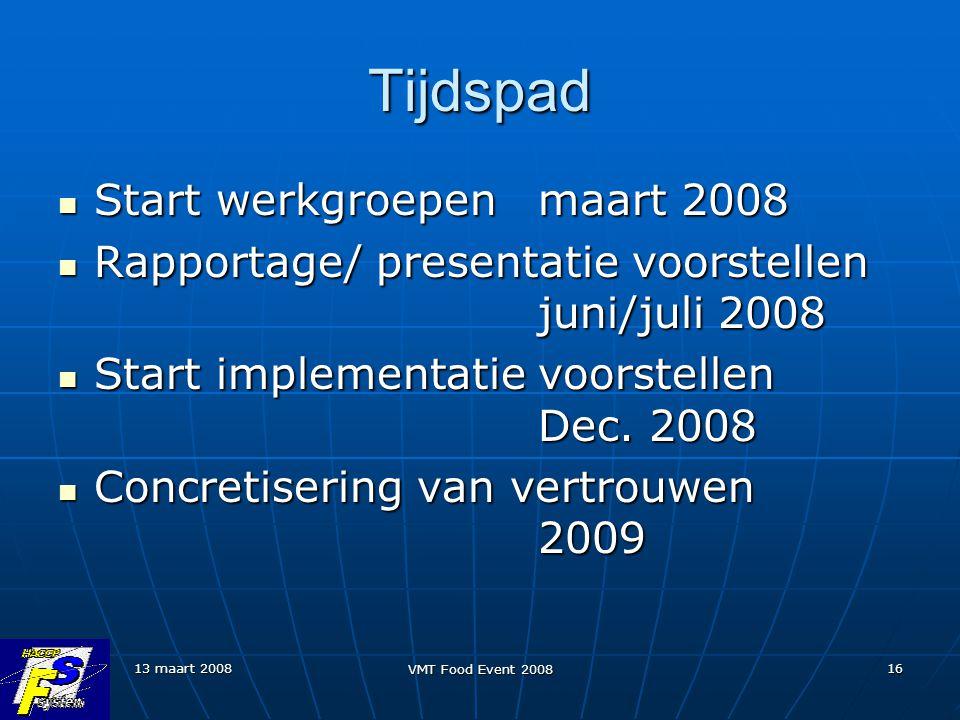 13 maart 2008 VMT Food Event 2008 16 Tijdspad Start werkgroepen maart 2008 Start werkgroepen maart 2008 Rapportage/ presentatie voorstellen juni/juli 2008 Rapportage/ presentatie voorstellen juni/juli 2008 Start implementatie voorstellen Dec.