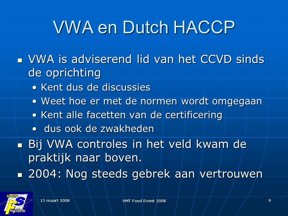 13 maart 2008 VMT Food Event 2008 9 VWA en Dutch HACCP VWA is adviserend lid van het CCVD sinds de oprichting VWA is adviserend lid van het CCVD sinds de oprichting Kent dus de discussiesKent dus de discussies Weet hoe er met de normen wordt omgegaanWeet hoe er met de normen wordt omgegaan Kent alle facetten van de certificeringKent alle facetten van de certificering dus ook de zwakheden dus ook de zwakheden Bij VWA controles in het veld kwam de praktijk naar boven.