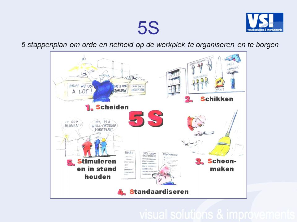 5S 5 stappenplan om orde en netheid op de werkplek te organiseren en te borgen