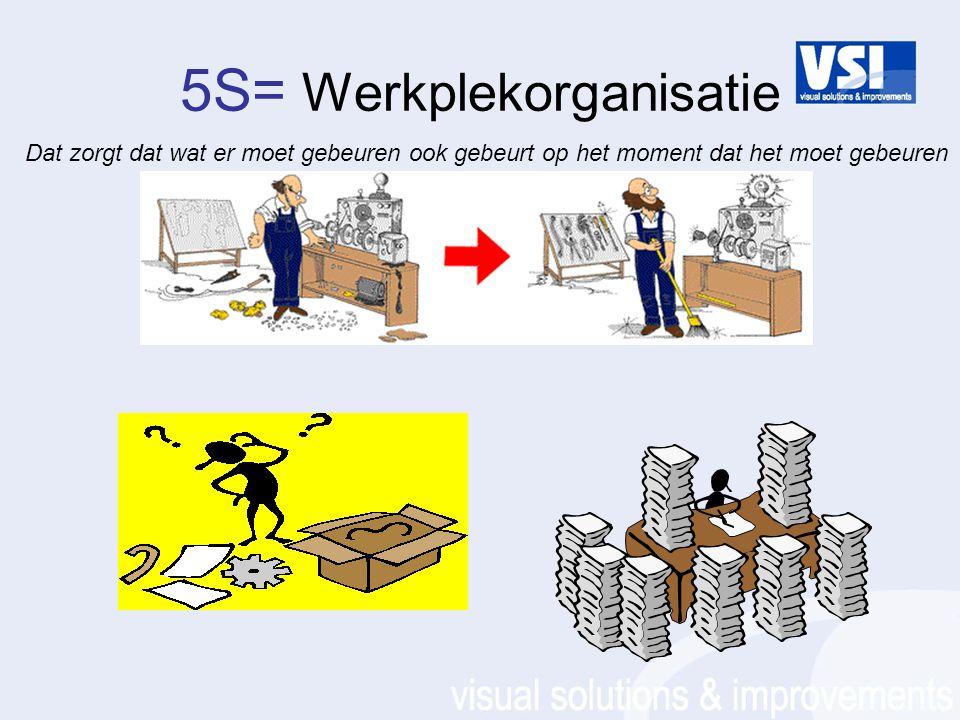 5S= Werkplekorganisatie Dat zorgt dat wat er moet gebeuren ook gebeurt op het moment dat het moet gebeuren