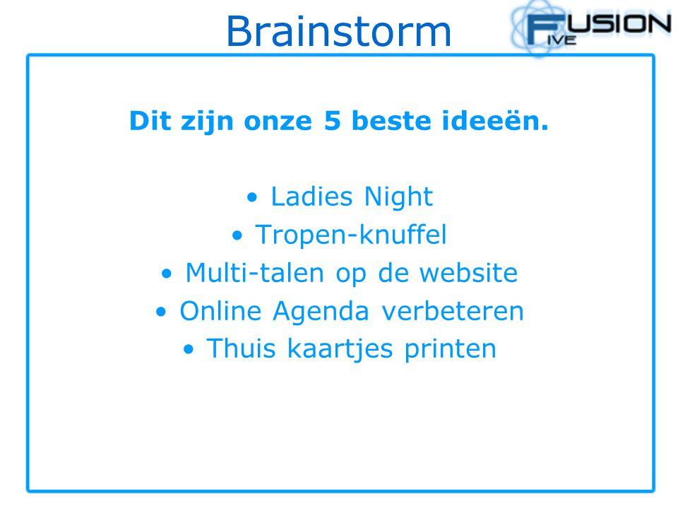 Brainstorm Dit zijn onze 5 beste ideeën. Ladies Night Tropen-knuffel Multi-talen op de website Online Agenda verbeteren Thuis kaartjes printen