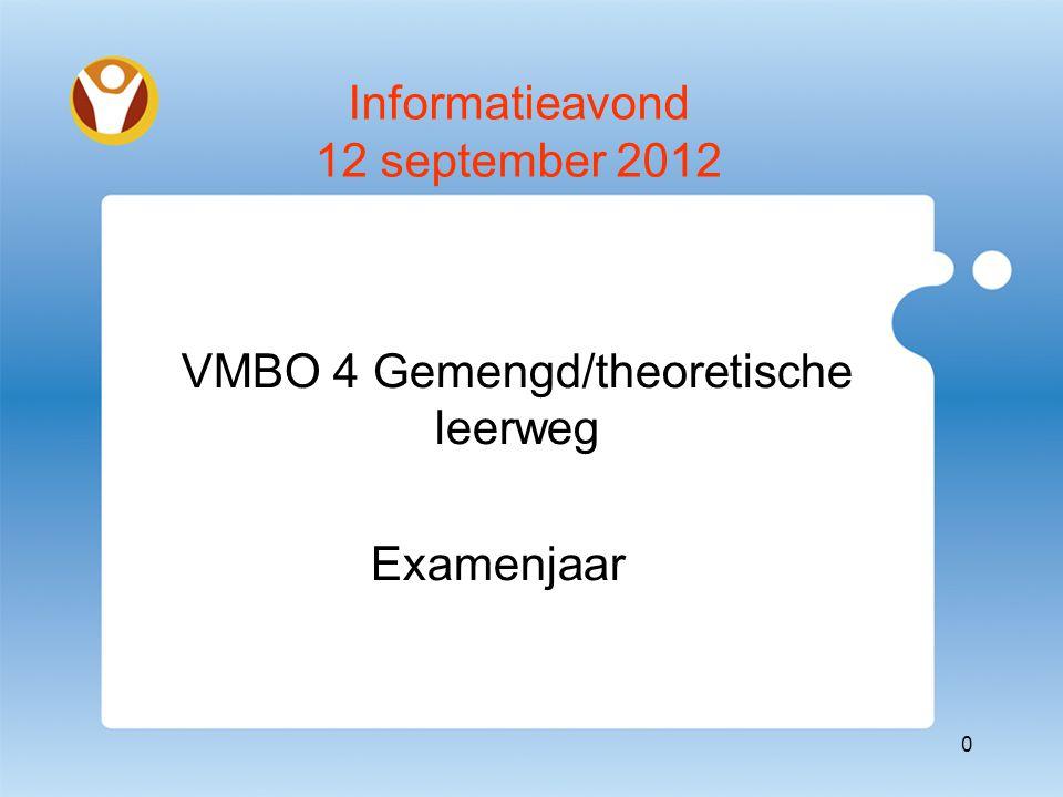 Informatieavond 12 september 2012 VMBO 4 Gemengd/theoretische leerweg Examenjaar 0