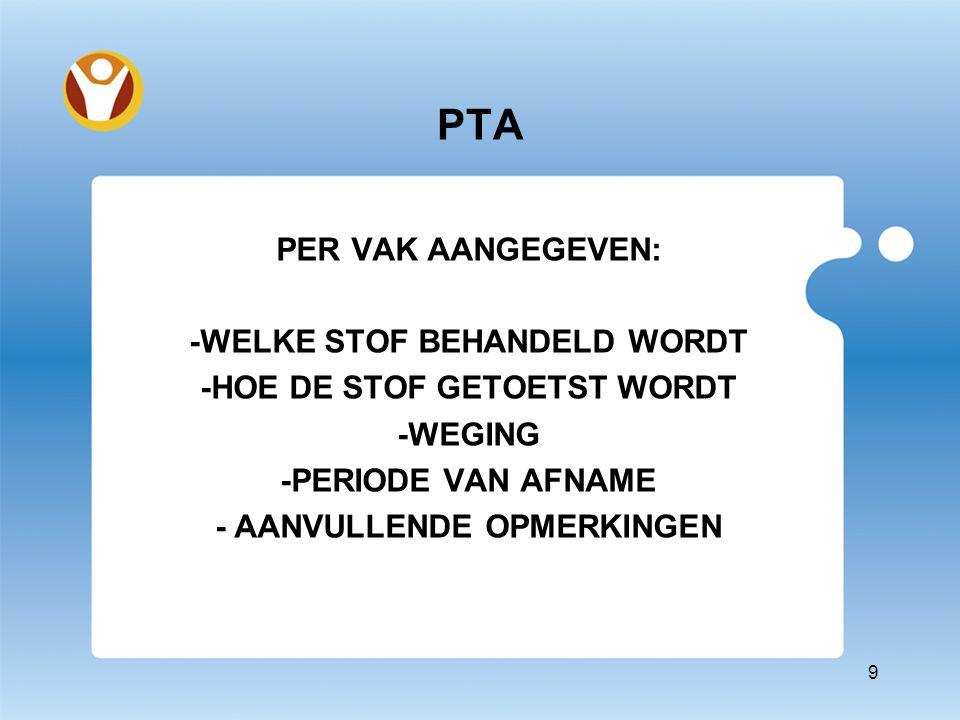 PER VAK AANGEGEVEN: -WELKE STOF BEHANDELD WORDT -HOE DE STOF GETOETST WORDT -WEGING -PERIODE VAN AFNAME - AANVULLENDE OPMERKINGEN 9 PTA