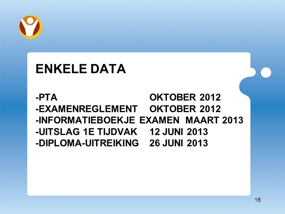 ENKELE DATA -PTAOKTOBER 2012 -EXAMENREGLEMENTOKTOBER 2012 -INFORMATIEBOEKJE EXAMEN MAART 2013 -UITSLAG 1E TIJDVAK12 JUNI 2013 -DIPLOMA-UITREIKING26 JUNI 2013 16