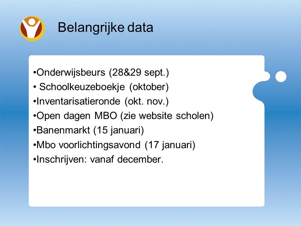 Belangrijke data Onderwijsbeurs (28&29 sept.) Schoolkeuzeboekje (oktober) Inventarisatieronde (okt.