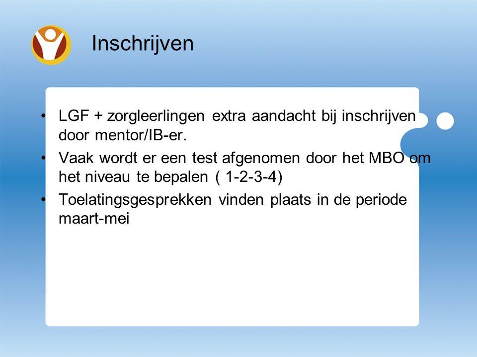 LGF + zorgleerlingen extra aandacht bij inschrijven door mentor/IB-er.