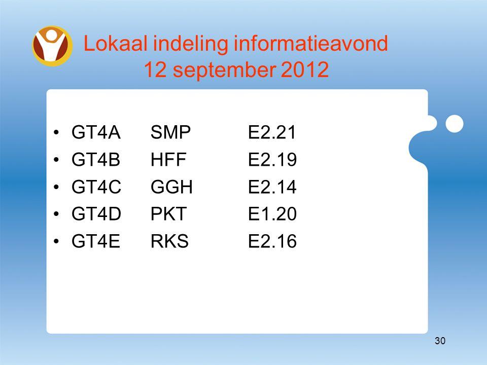 Lokaal indeling informatieavond 12 september 2012 GT4ASMP E2.21 GT4BHFFE2.19 GT4CGGHE2.14 GT4DPKTE1.20 GT4ERKSE2.16 30