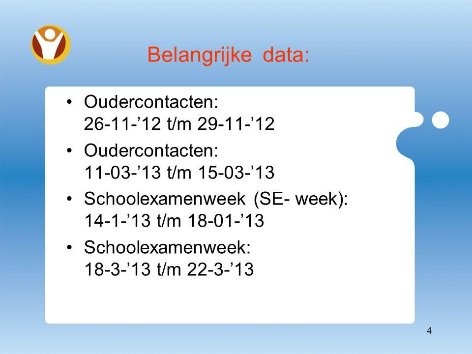 Belangrijke data: Oudercontacten: 26-11-'12 t/m 29-11-'12 Oudercontacten: 11-03-'13 t/m 15-03-'13 Schoolexamenweek (SE- week): 14-1-'13 t/m 18-01-'13 Schoolexamenweek: 18-3-'13 t/m 22-3-'13 4
