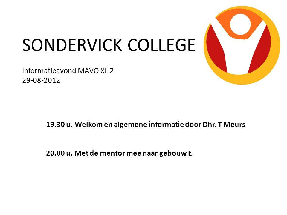 SONDERVICK COLLEGE Informatieavond MAVO XL 2 29-08-2012 19.30 u. Welkom en algemene informatie door Dhr. T Meurs 20.00 u. Met de mentor mee naar gebou