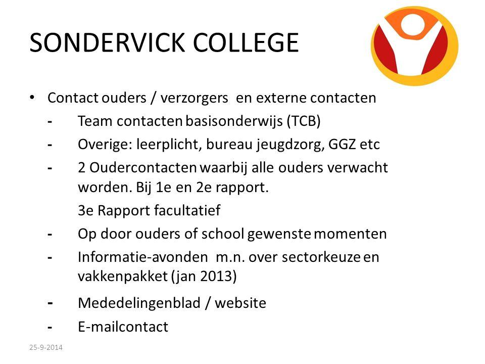 SONDERVICK COLLEGE Contact ouders / verzorgers en externe contacten -Team contacten basisonderwijs (TCB) -Overige: leerplicht, bureau jeugdzorg, GGZ e