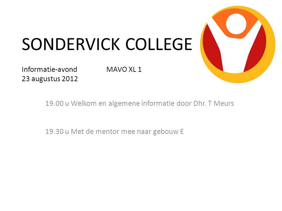 SONDERVICK COLLEGE Informatie-avond MAVO XL 1 23 augustus 2012 19.00 u Welkom en algemene informatie door Dhr.