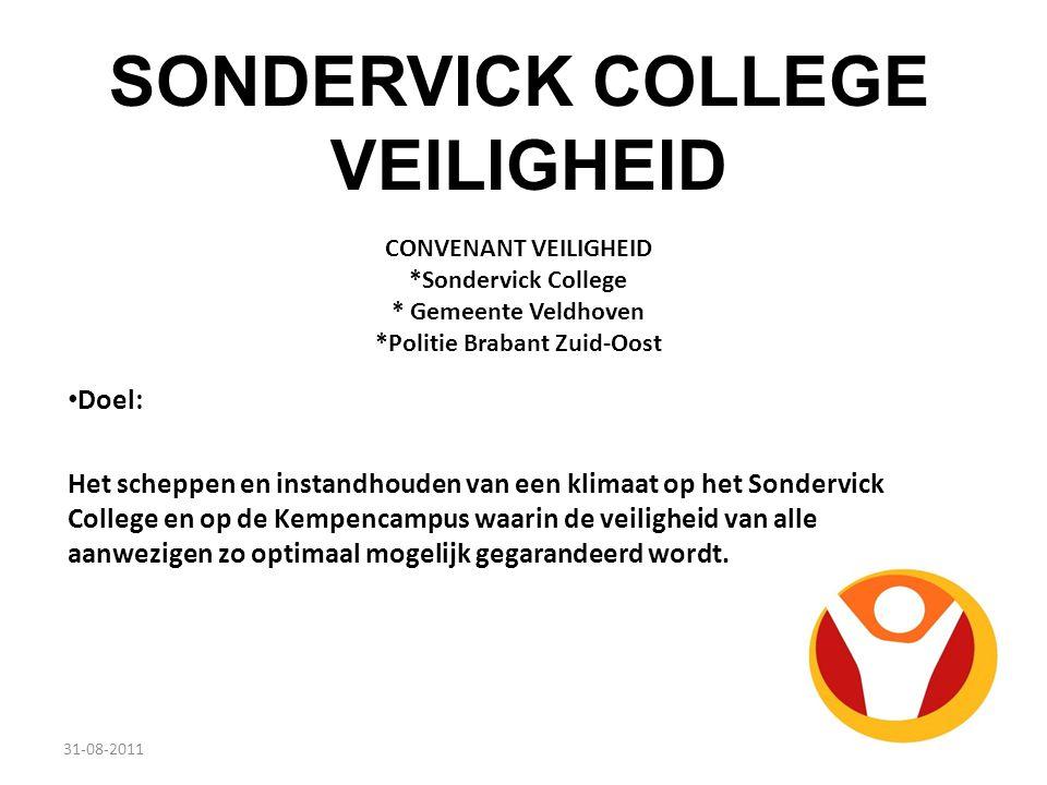 CONVENANT VEILIGHEID *Sondervick College * Gemeente Veldhoven *Politie Brabant Zuid-Oost Doel: Het scheppen en instandhouden van een klimaat op het So