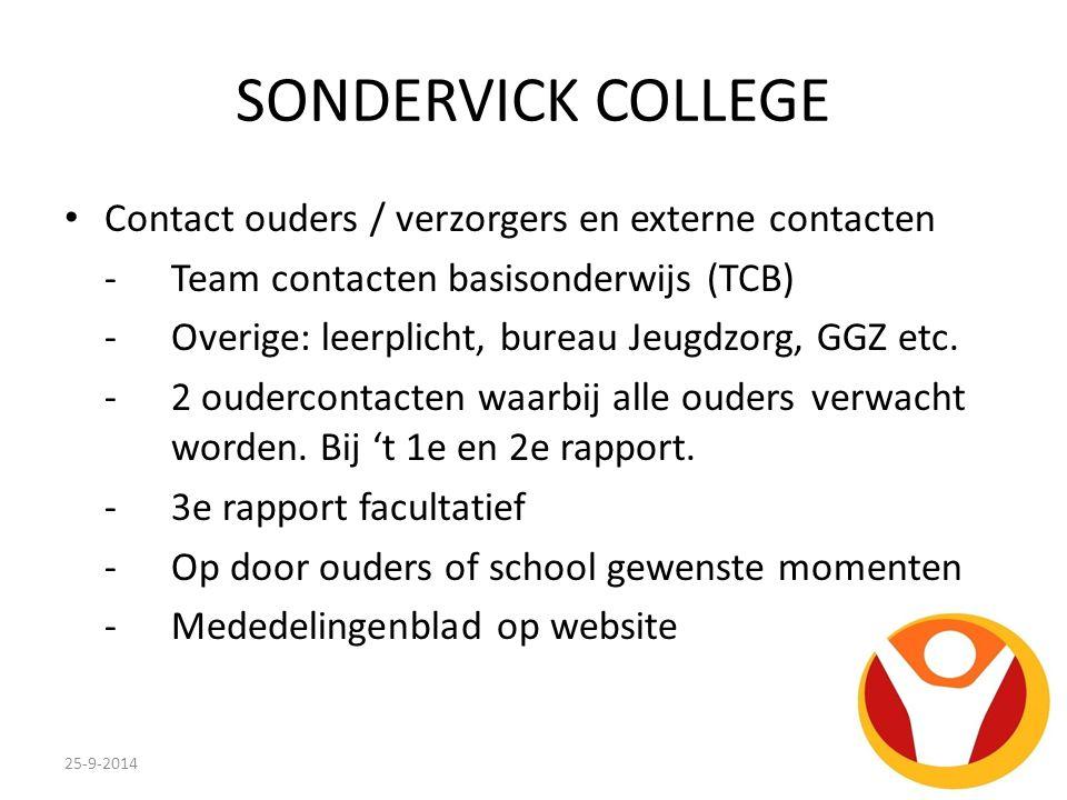 SONDERVICK COLLEGE Contact ouders / verzorgers en externe contacten -Team contacten basisonderwijs (TCB) - Overige: leerplicht, bureau Jeugdzorg, GGZ etc.