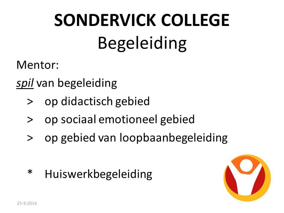 SONDERVICK COLLEGE Begeleiding Mentor: spil van begeleiding >op didactisch gebied >op sociaal emotioneel gebied >op gebied van loopbaanbegeleiding *Huiswerkbegeleiding 25-9-2014