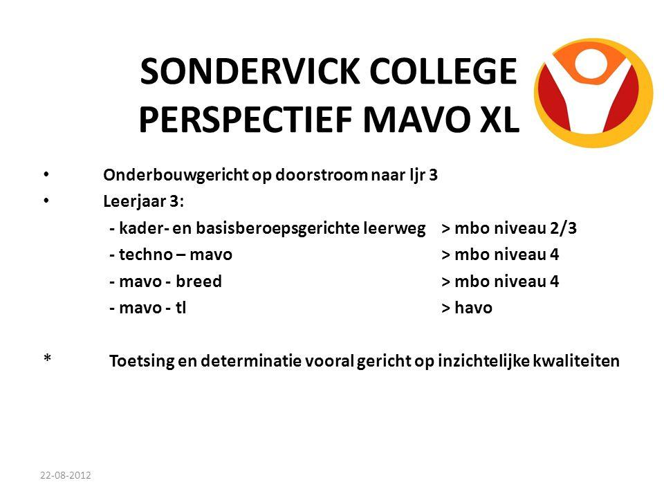 SONDERVICK COLLEGE PERSPECTIEF MAVO XL Onderbouwgericht op doorstroom naar ljr 3 Leerjaar 3: - kader- en basisberoepsgerichte leerweg> mbo niveau 2/3