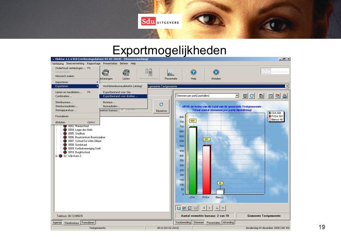 19 Exportmogelijkheden