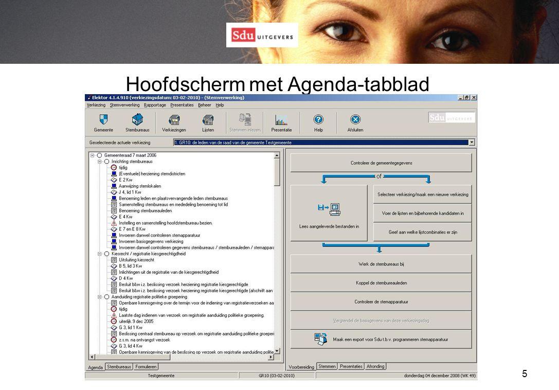 5 Hoofdscherm met Agenda-tabblad