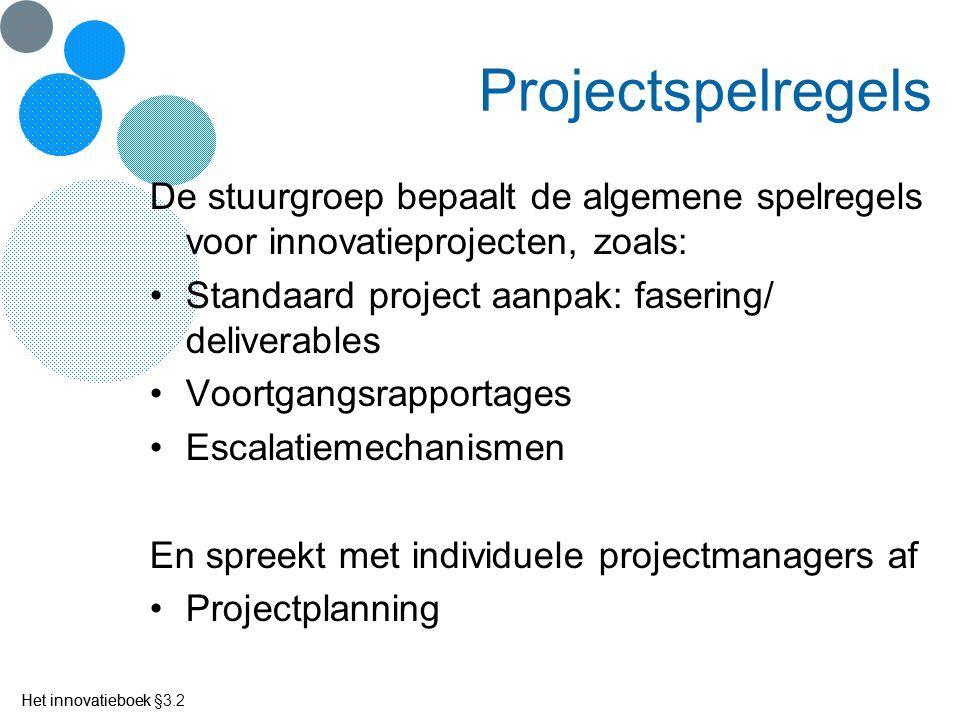 Het innovatieboek Projectspelregels De stuurgroep bepaalt de algemene spelregels voor innovatieprojecten, zoals: Standaard project aanpak: fasering/ d
