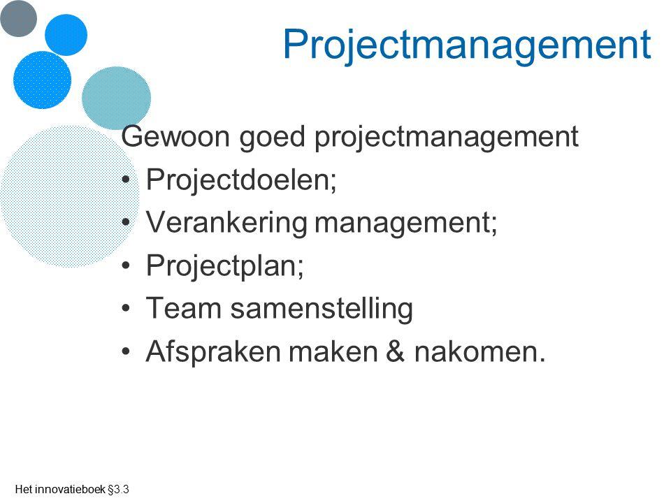 Projectmanagement Gewoon goed projectmanagement Projectdoelen; Verankering management; Projectplan; Team samenstelling Afspraken maken & nakomen. Het
