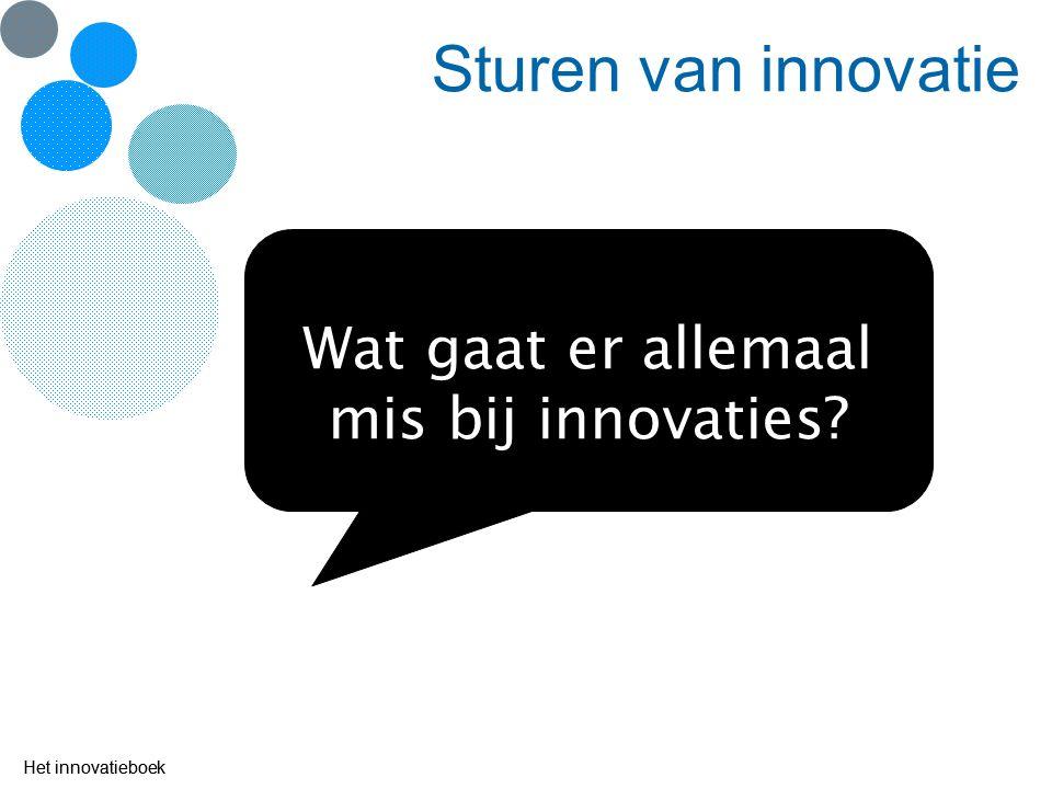 Het innovatieboek Sturen van innovatie Wat gaat er allemaal mis bij innovaties? Het innovatieboek