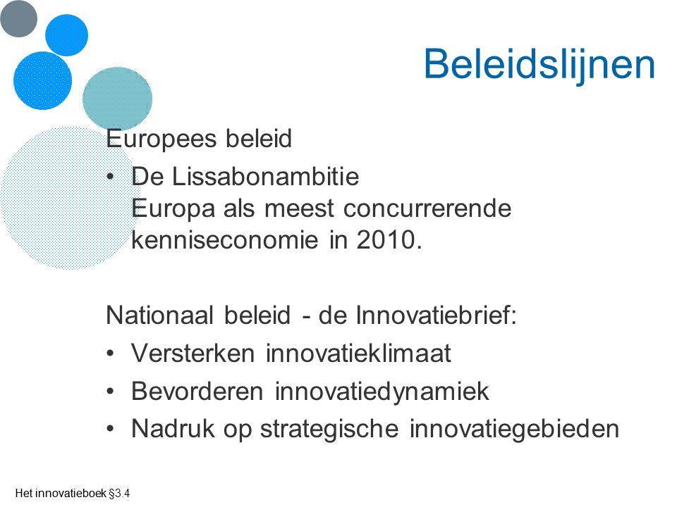 Het innovatieboek Beleidslijnen Europees beleid De Lissabonambitie Europa als meest concurrerende kenniseconomie in 2010. Nationaal beleid - de Innova