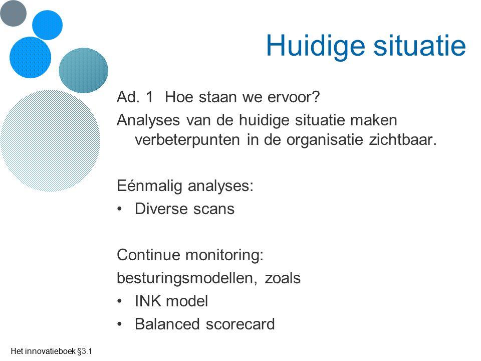 Het innovatieboek Huidige situatie Ad. 1Hoe staan we ervoor? Analyses van de huidige situatie maken verbeterpunten in de organisatie zichtbaar. Eénmal